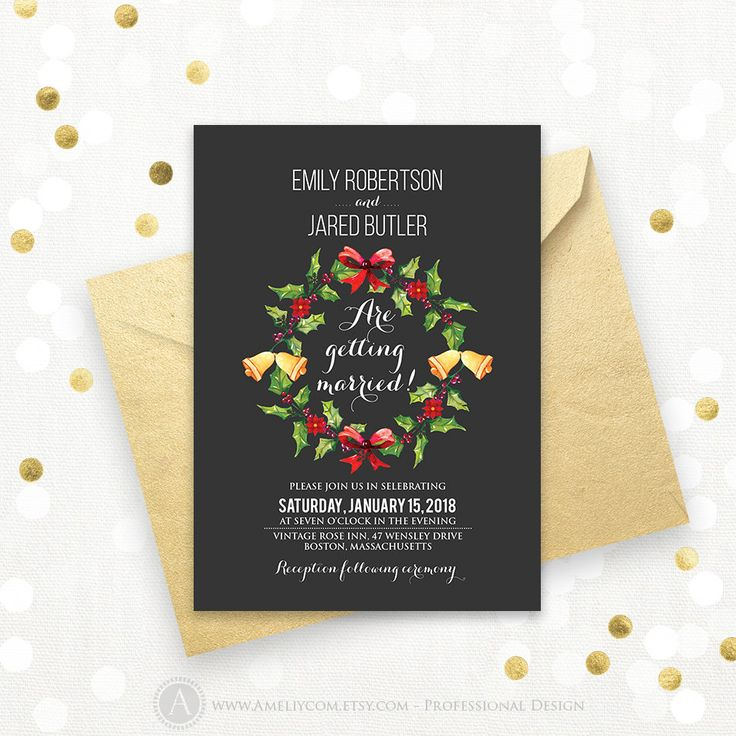invitation letter for uk viswife%0A Chalkboard Wreath Wedding Invitation Printable Winter Holly Wedding Invite  DOWNLOAD Holiday Christmas Gold  Green  u