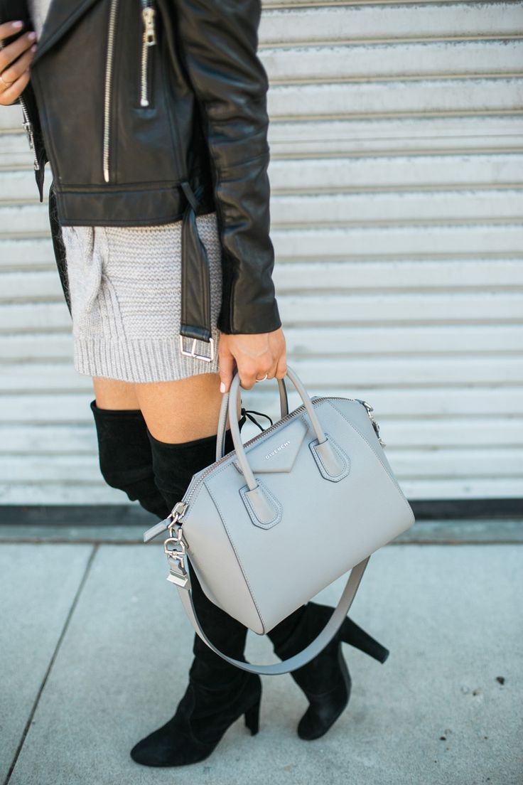 Grey Sweater Dress paired with Stuart Weitzman Highland boots.