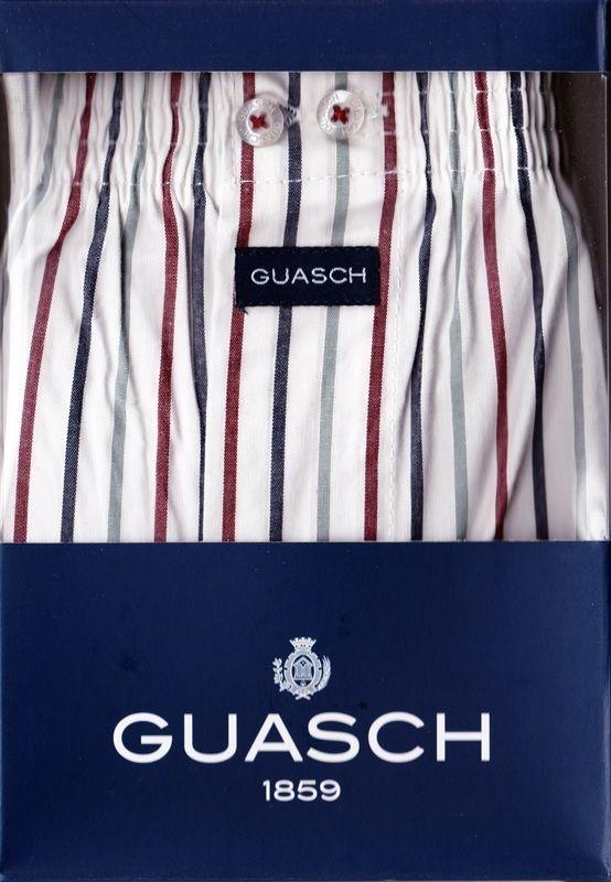 Boxer Guash de tela en rayas - ENVÍO 24/48h - Ref: BS120  D.387 - Boxer de tela algodón popelín en blanco con rayas en gris, burdeos y azul marino. #calzoncillos #hombre #modahombre #ropainterior http://www.varelaintimo.com/marca/9/guash
