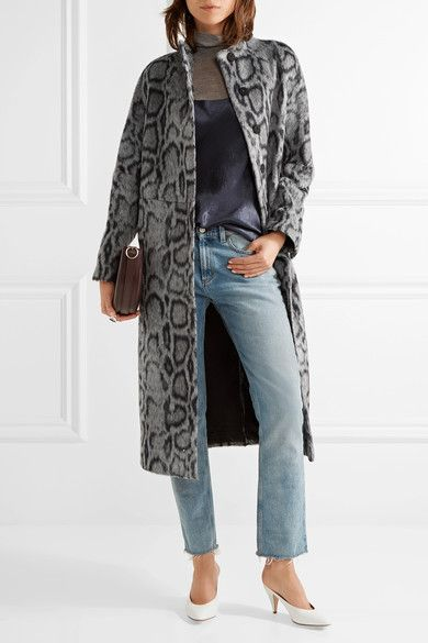 Gray and midnight-blue faux fur Concealed snap fastenings through front 41% acrylic, 21% polyester, 18% viscose, 16% wool, 4% polyamide; lining: 96% polyester, 4% spandex Dry clean