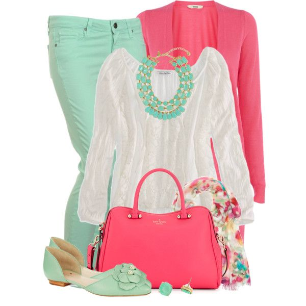 CARAMEL D&B BAG - Mint Green Skirt, Carnation Pink Jacket, White Blouse, Caramel Heel Shoes, Gold Watch, Mint Green & Gold Statement Necklace,