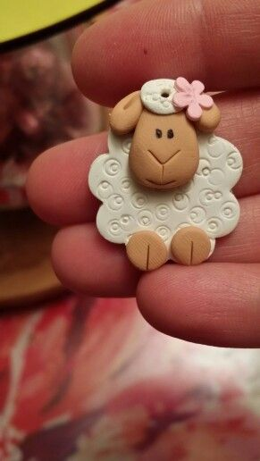 Polymer clay sheep charm