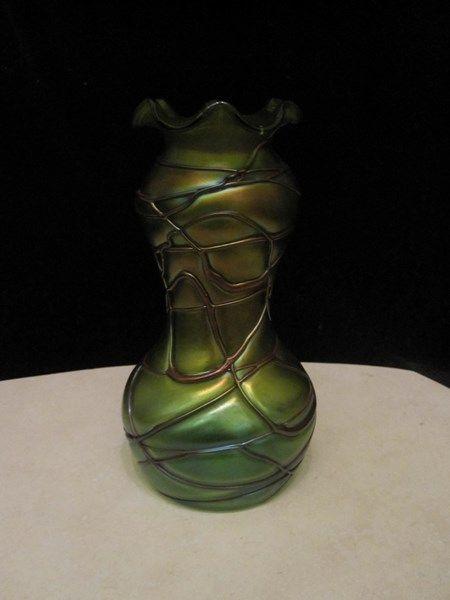 $265 - Art Nouveau Pallme Konig green iridescent threaded ... Irridescent Ruffled Art Glass Vase