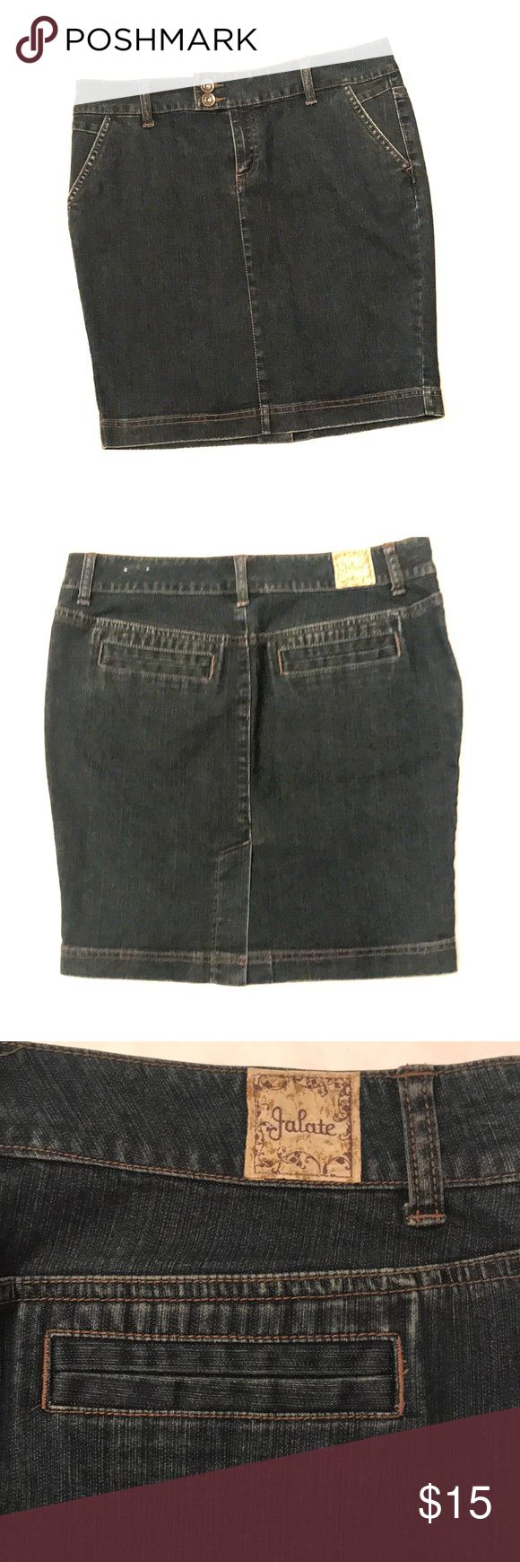 Super cute stretch denim skirt Two front pockets and two faux back pockets.  Great condition! Jalate Skirts