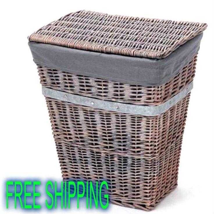 Wicker Hamper Bath Basket Rustic Clothes Storage Bedroom Organizer Stylish NEW