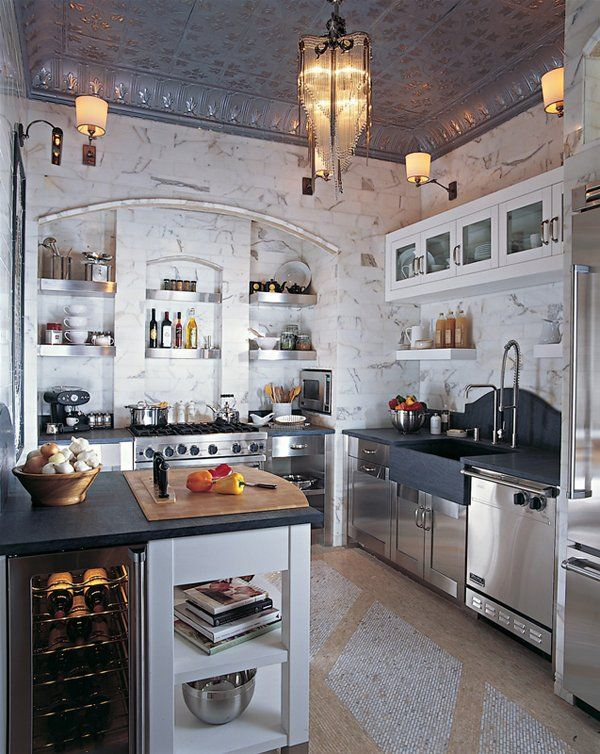 We would love this Kitchen!!    Google Image Result for http://1.bp.blogspot.com/_V6veqKiMKzI/TK_fm6iLiZI/AAAAAAAAAHY/l54aepEzHao/s1600/tin%2Bceiling%2Bkitchen.jpg