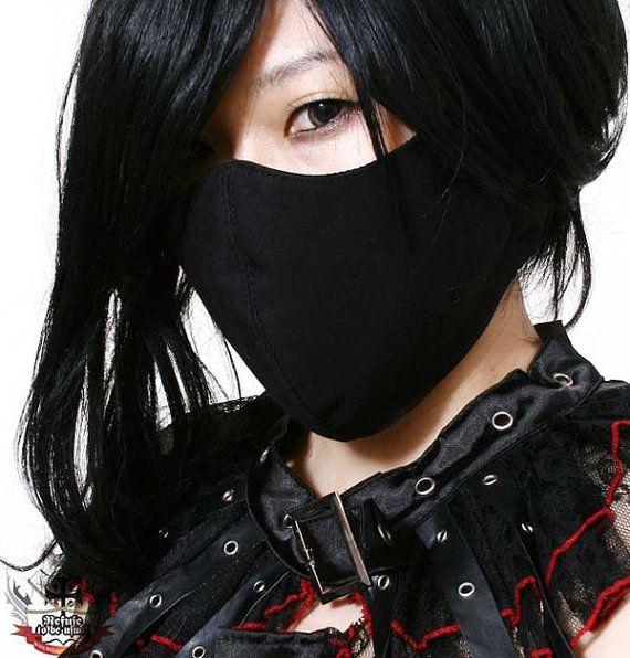 Gothic Punk Rock Visual Kei Unisex Silent ghost Criminal Black 3D Cotton Face Mask Guard Kakashi-Sensei