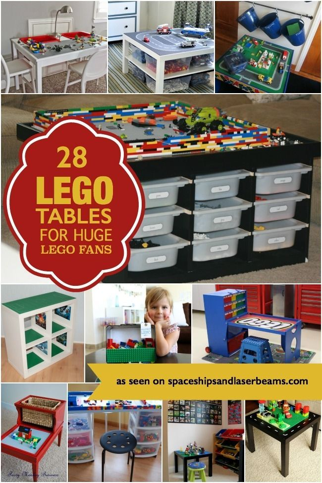 Where can a boy play with his LEGOs? On one of these terrific DIY LEGO tables!