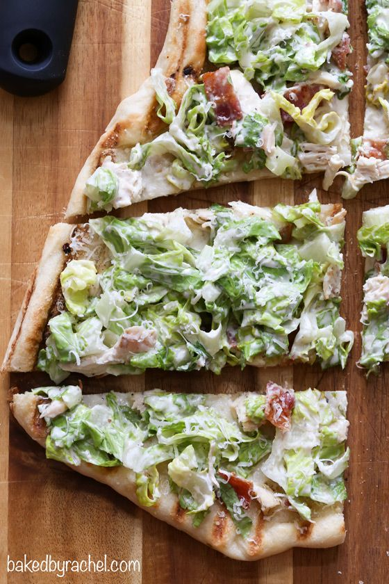 GRILLED CHICKEN CAESAR PIZZA ~ DOUGH - 1/2 c. water...1/2 t. active dry yeast...1/4 t. sugar...1-1/4 C. all-purpose flour...3/4 t. salt...1/2 t. garlic powder...1-1/2 t. olive oil - TOPPINGS - 1 T. olive oil...1/8 t. red pepper flakes...2 cloves garlic, minced...1 c. whole milk mozzarella, shredded...1 chicken breast...3 c. romaine lettuce, sliced thin...3-4 slices bacon, cooked & chopped...Caesar dressing...parmesan
