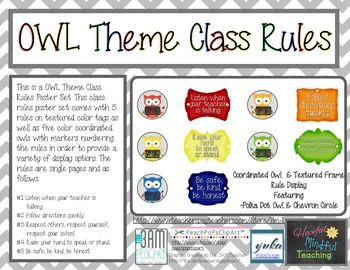 Classroom Rules Owl Version with Chevron Accents - FREE