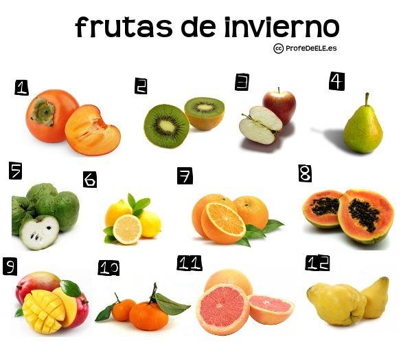 Vocabulario de las frutas de invierno (Nivel A2-B1) ~ Actividad online para practicar el léxico | ProfeDeELE.es