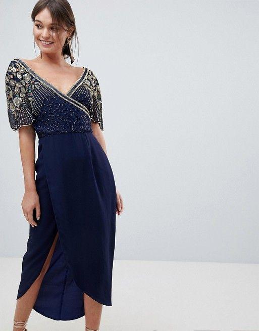 7ef981df Virgos Lounge Julisa Embellished Wrap Midi Dress in 2019   That's ...