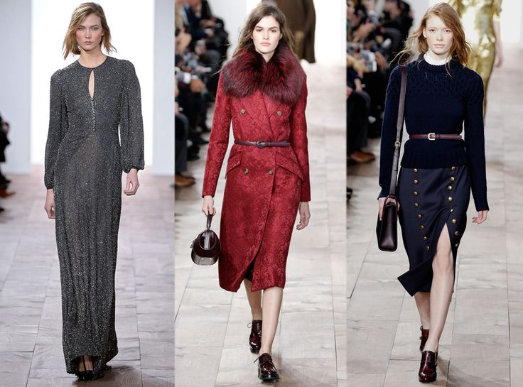 Iridescent gowns, waist-cinching silhouettes and a sharp '40s influence were present at Michael Kors.