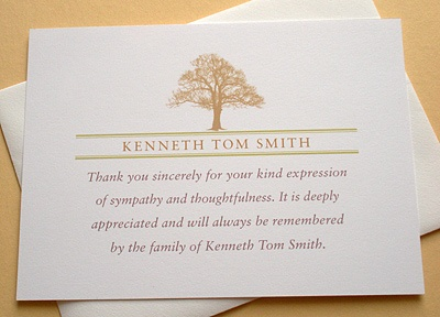 This big brown tree is the focal point of this personalized Sympathy Thank You  card. It cost $62.00 for 36 flat cards plus shipping.