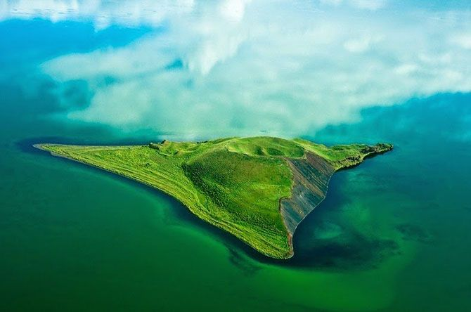 Lava island in Lake Mývatn in the north of Iceland.