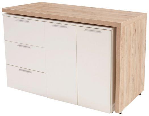 Moderní psací stůl v dekoru dub San Remo/bílá lakovaná. S 3 zásuvkama a 2 dveřma. Deska stolu je otočná o 360 st. Š/V/H: 120/76/50 cm.