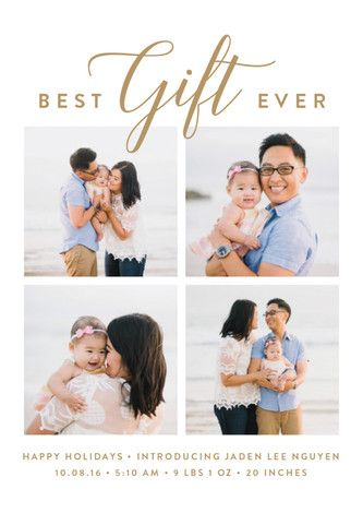 """""""our gift"""" - Classical, Photo Collage Holiday Birth Announcement Postcards in gold by Susan Asbill."""