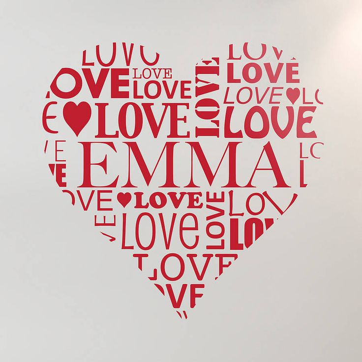 Personalised love heart wall sticker