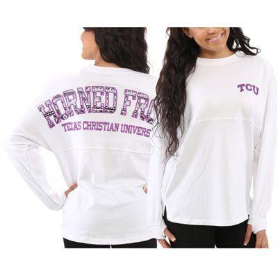 TCU Horned Frogs Women's Aztec Sweeper Long Sleeve Oversized Top - White