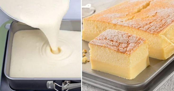 """Tento koláč u nás doma zvykneme nazývať i """"magický"""". Aj keď pripravíte len jedno cesto, ktoré sa pečie v rúre, po upečení vám vznikne krásny nadýchaný koláčik s dvoma vrstvami. Je skutočne lahodný, nie presladený a krehučký ako obláčik. Stačí ho posypať práškovým cukrom, takže nemáte prácu navyše s prípravou plnky alebo polevy. Zvyknem ho"""