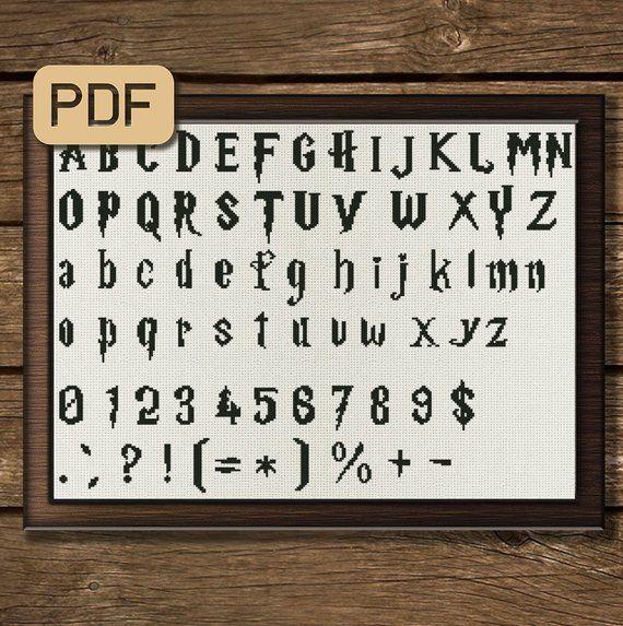 Harry Potter Font Cross Stitch Pattern Alphabet Cross Stitch Letters Abc Cross Stitch Pdf Inst Cross Stitch Letters Cross Stitch Fonts Cross Stitch Patterns