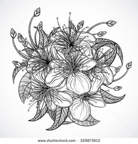 Bouquet Of Exotic FlowersBlack And White Tropical Flowers Leaves Isolated Elements
