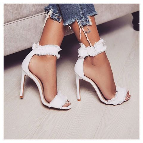 dbd8f41da67 Flirty White High Heeled Sandals with Ruffle Ankle Wraps sexy fashion shoes  glitter white boots high heels sparkle fad flirty ruffle outfit sandals  trend