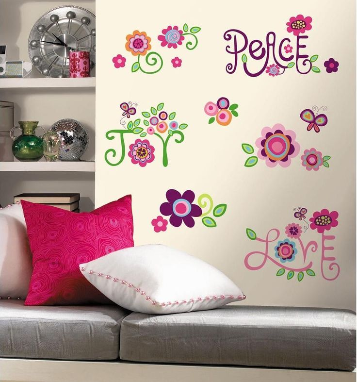 Joyful Beige Painting With Flowers Patterns And Peace Love Writing Wall  Decals For Kids Rooms Ideas Part 55