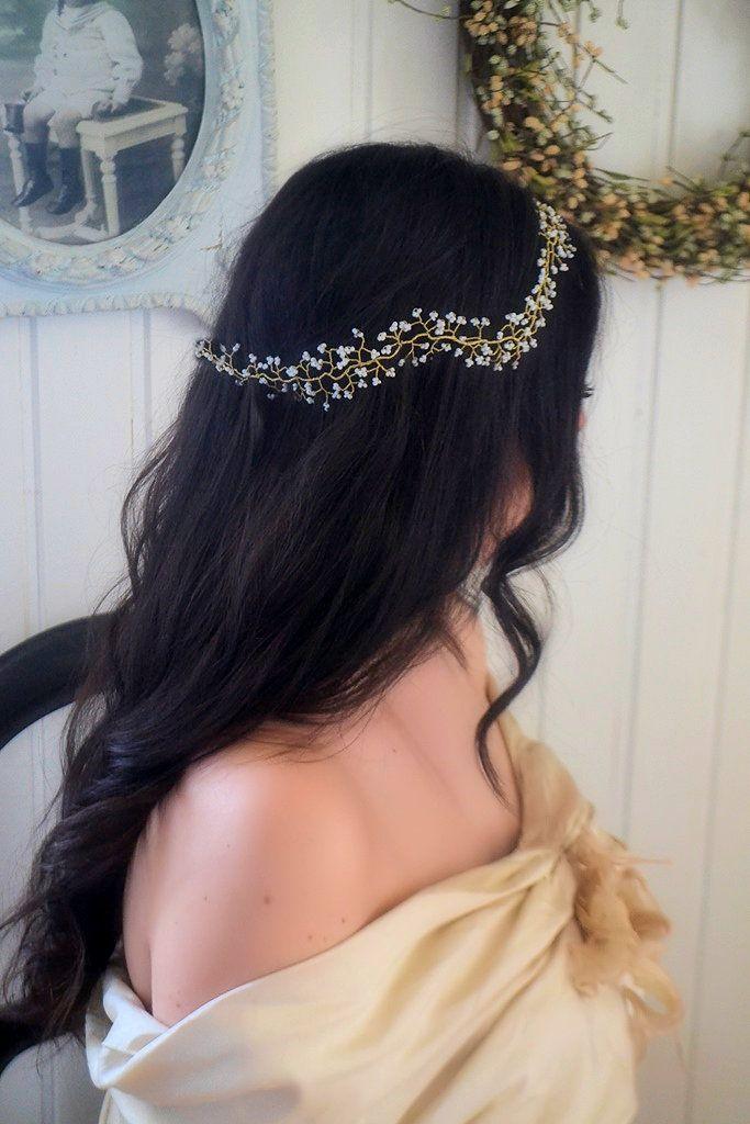 Couronne de mariée ou vigne à tresser, gypsophile perlé, modèle Hortense