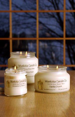Muskoka Candle Co.  Love these, I have like 20!