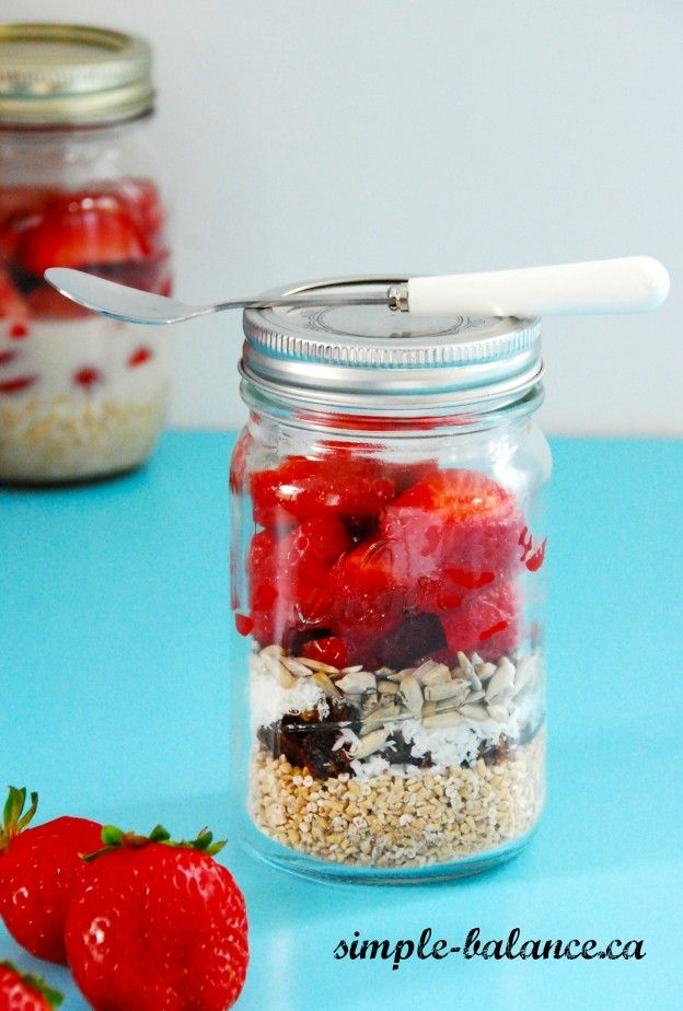 Strawberry Coconut Mason Jar Mornings: Easiest breakfast ever - perfect for grab-and-go!