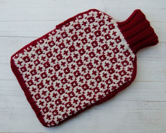 Hot water bottle Cover Knitted in Red & Cream Scandinavian Design