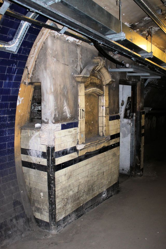 Abandoned London Underground - a disused ticket office between Euston's Bank and Charing Cross Branch platforms