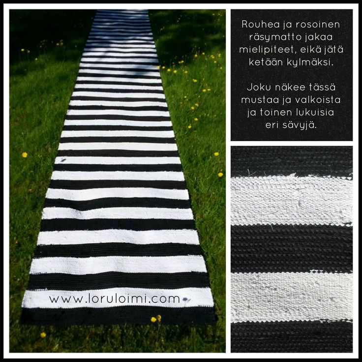 Mustavalkoinen räsykuteista kudottu räsymatto.  Maton leveys noin 93 cm. Pituutta sen verran kuin haluat. Myynnissä Loruloimen nettikaupassa: www.loruloimi.com