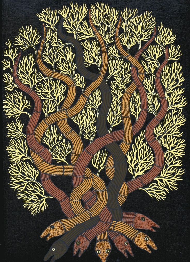 eyeburfi: The Night Life of Trees (via peacay) Art: Bhajju Shyam, Durga Bai and Ram Singh Urveti. Design: Gita Wolf and Rathna Ramanathan. The Night Life of Trees is an exquisite hand-bound and screen-printed book of paintings by three of the finest artists of the Gond tribal art tradition. Each painting is accompanied by its own poetic tale, myth or lore, narrated by the artists themselves, which recreate the familiarity and awe with which the Gond people view the natural world.