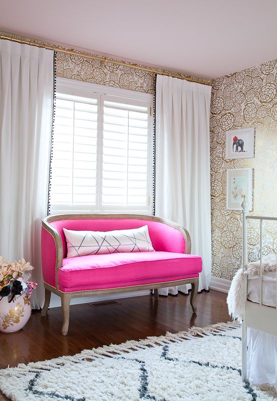 christine dovey pine girls room 10 pink settee beni rug pom pom curtains pillotopia pillow