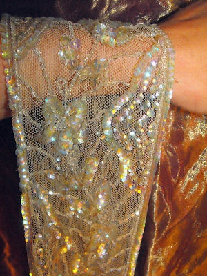 Antique Wedding dress Silk Sequin dress trim French Edwardian 1900:
