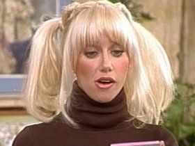 70s Suzanne Somers as Chrissy Snow in brown turtleneck Three's Company