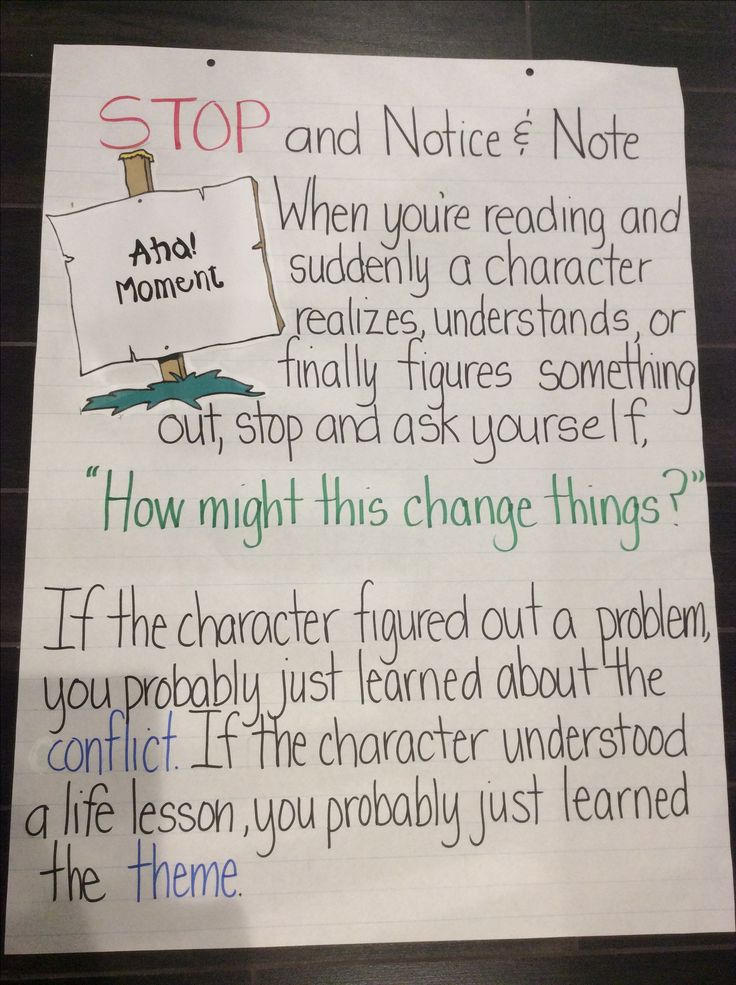Notice and Note Anchor Chart: Aha Moment ( I made this myself!)