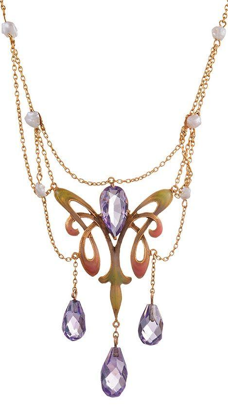 An Art Nouveau 14k gold, amethyst, enamel and pearl necklace, circa 1895. #ArtNouveau #necklace