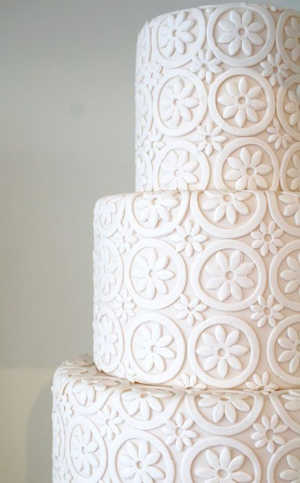 #KatieSheaDesign ♡❤ ❥ Contemporary lace #wedding cake - gorgeous