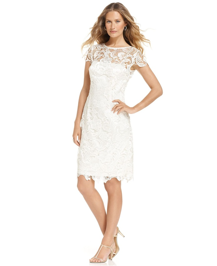 Patra dress cap sleeve lace sheath womens wedding for Macy s dresses for weddings