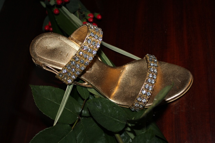 Gold leather and Swarovski Crystals extremely hight heels. Ankle lace Celine