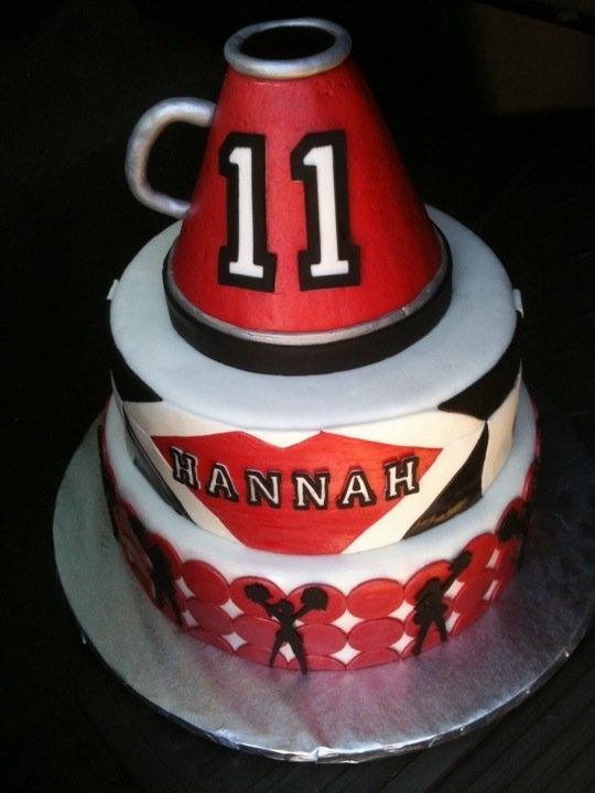 cheerleading birthday cake- my friend Tina made this!!