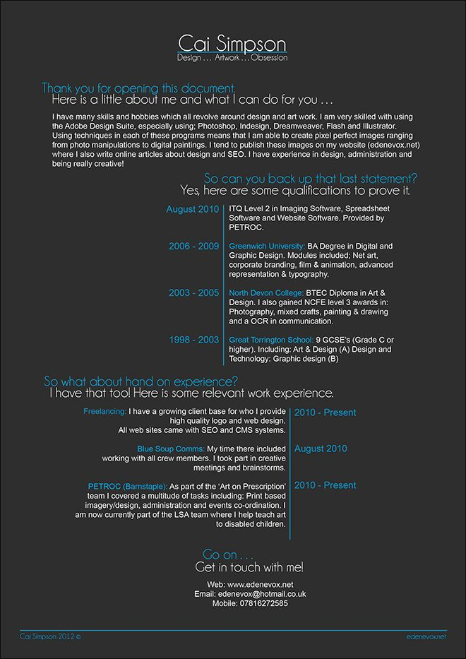 Cai Simpson Graphic Design CV 74 best