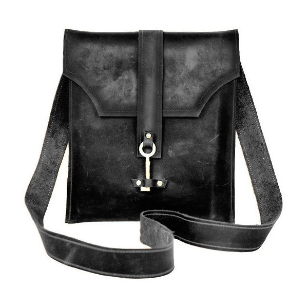 Black Leather Messenger Bag with Skeleton Key Antique Hardware (€135) ❤ liked on Polyvore featuring bags, messenger bags, skeleton bag, leather messenger bag, envelope clutch, leather courier bag and genuine leather bags