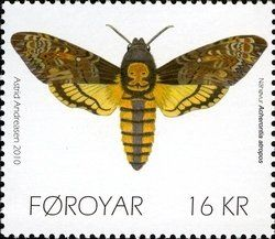 Stamp: Death's Head Hawk Moth (Acherontia atropos) (Faroe Islands) (Butterflies) Mi:FO 694,Yt:FO 690,AFA:FO 691,WAD:FO009.10