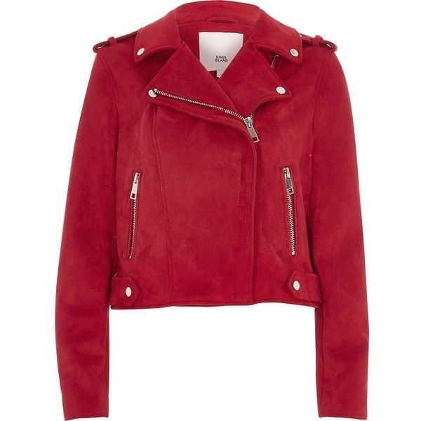 River Island Red faux suede biker jacket ($120) ❤ liked on Polyvore featuring outerwear, jackets, coats / jackets, red, women, moto biker jacket, collar jacket, tall jackets, moto jackets and snap jacket