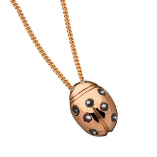 Ladies' Necklace in 18Kt Rose Gold with diamonds and black diamond by Flores Gioielli Personal Jewels