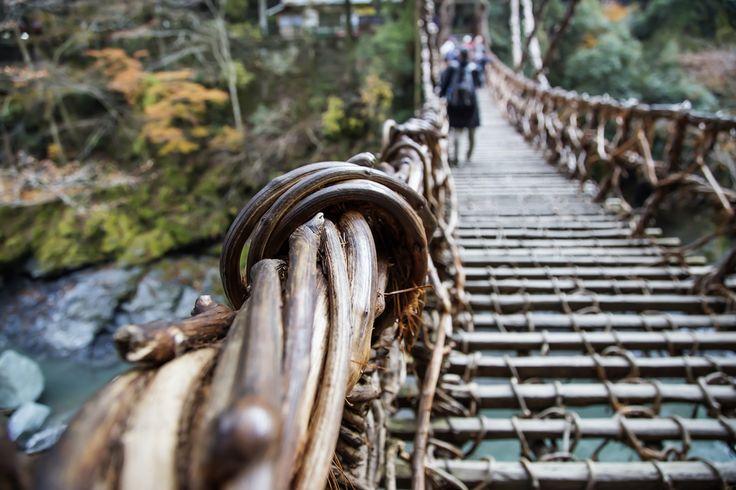 Ponte Iya Valley Vine, Japão  *****Por ser distante e difícil de entrar, o vale West Iya sempre foi o lugar preferido de refugiados, criminosos e guerreiros desonrados. Para cruzar rio Iya, essas pessoas criaram um tipo diferente de ponte, feita de cipós e pedaços de madeira separados por distâncias de 17 ou 60 cm, e possui 45 m de comprimento e 14m  de altura